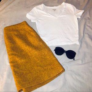 Uniqlo Yellow Wool Skirt NWOT